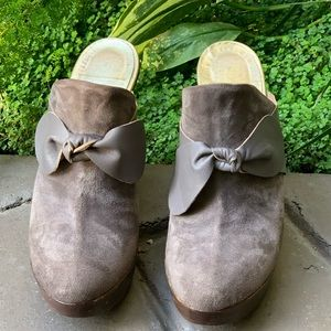 CYNTHIA VINCENT Suede Mule Wedge Woman's Shoes